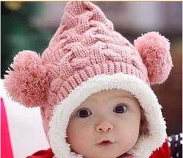 Crochet For Babies NZ - crochet beanie for baby boy girl child cap winter bear Cute Ears caps infant Christmas warm hat plush hat