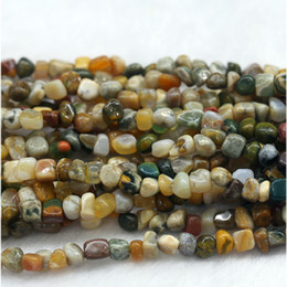 "free form jewelry UK - Discount Wholesale Natural Green Yellow White Multi-Color Ocean Jasper Jasper Nugget Loose Beads Free Form Beads Fit Jewelry 15"" 03904"