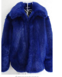 Wholesale faux fur blue for sale - Group buy Winter new men fur coats faux fur jaqueta couro male leather jacket europe america casaco masculino blue big size S XL