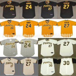 sports shoes 2cc30 9bf3c mens pittsburgh pirates 24 barry bonds yellow throwback jersey