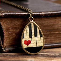 Discount chain sheet - 2017 New Piano Keyboard Necklace Sheet Music Jewelry Tear Drop Pendant Handmade Chain Glass Photo Necklaces