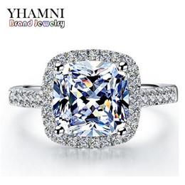 Sona ringS online shopping - YHAMNI Real Sterling Silver Rings Inlay Carat SONA Simulation CZ Wedding Rings For Women RH002