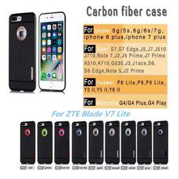 fbaa28880e05 For Huawei GW Y6II Y5II Y3II For iphone 6 7Plus For ZTE Blade V7 Lite  Carbon Fiber Case Shockproof Soft TPU PC Hybrid