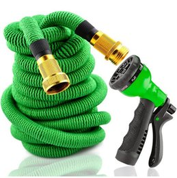 Hose 75ft Canada - 25FT Garden Watering Hose Expandable Flexible Pipe With Spray Top Quality Natural Latex 50FT 75FT 100FT Washing Car Pet Hoses EU US Versions