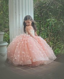 Discount making straps for prom dresses - 2017 Princess Ball Gown Pageant Dresses For Little Girls Spaghetti Straps Birthday Party Dresses Prom Wear For Kids