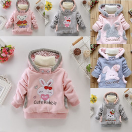 Oreilles Enfants Pas Cher-Automne Hiver Vêtements de bébé Bunny Ear Hoodies Enfants Cute Rabbit Bear Embroidery Outwear Manteau Roupa Infantil Vêtements Enfants