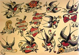 Paintings Old Ships NZ - hot sale free shipping Classic European and American retro old figure tattoo swallow and flower pattern decoration inkjet poster painting