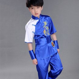 Costumes Wushu Pas Cher-Enfants Chinois Wushu Traditionnel Vêtements pour Enfants Arts Martiaux Uniforme Kung Fu Costume Filles Garçons Stade Performance Costume Ensemble UA0170