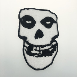 skull patches wholesale Canada - Famous Old School PUNK Embroidered Iron On Patch Motorcycle Punk Music Biker Patch DIY SKULL Applique Embroidery Badge Free Shipping