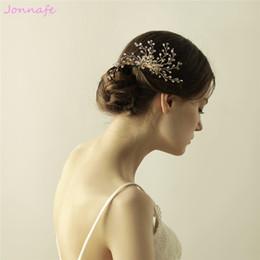 Gold vines online shopping - beijia Hand wired Rhinestone Hair Comb Gold Bridal Hair Vine Accessories Crystal Wedding Headpiece Women Jewelry