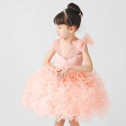 $enCountryForm.capitalKeyWord UK - Cute Ball Gown Organza Flower Girls Dresses White Bow Rhinestione Pink Ruffle Cheap Little Girls Dress Custom Made Short Party Dress
