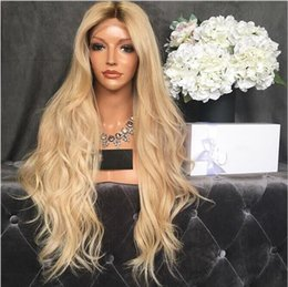 Best omBre human hair wigs online shopping - Best blonde Peruvian Virgin Human Hair Wigs Unprocessed Straight Front Full Lace Wigs Wave Styled Human Hair Top Quality Glueless