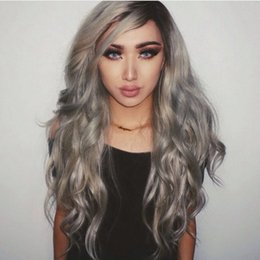 wig grey Australia - Brazilian ombre grey full lace human hair wigs wavy silver gray glueless front lace wig 130% density with bleached knots 1b gray