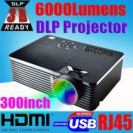 $enCountryForm.capitalKeyWord NZ - Wholesale-Top quality 6000ANSI 15000:1 3d full hd 1080p projector HDMI USB RJ45 Education Business Advertising Rear Film Beamer Projector