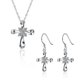 3f679f8482a6 Cruz colgante collar y pendientes zircon conjunto 925 chapado en plata  encanto conjunto de joyas mujeres barato caliente