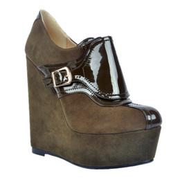 Discount platform closed wedges - Kolnoo Womens Fashion Handmade 15cm Wadge High Heel Platform Buckles Closed Toe Pumps Shoes Deepbrown XD067