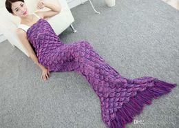 mermaid towel tails wholesale 2019 - 50pcs New Designer Crocheted Mermaid Tail Blanket with Tassel Super Soft Hand Bedding Sofa Blanket Mermaid Throw Blanket