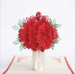 10pcs Hollow Rose Flower Handmade Kirigami Origami 3D Pop UP Greeting Cards Invitation Card For Wedding Birthday Party Gift