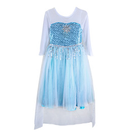 Wholesale Girls Frozen princess gown dress sequins cape long sleeve dress Lace splicing outfits photo props costume for T