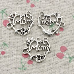 $enCountryForm.capitalKeyWord Canada - 50pcs Charms heart mom 26*24mm Antique Silver Pendant Zinc Alloy Jewelry DIY Hand Made Bracelet Necklace Fitting