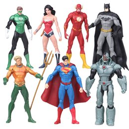Dc Cómicos Batman Baratos-7pcs / lot DC Comics superhéroes Liga de la justicia Superman Batman Wonder Woman El Flash Lantern verde Aquaman Cyborg PVC figura de juguete