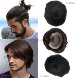 human hair men 2019 - Stock Human Men Hair Toupee 6x8 fine Mono base with NPU around human hairpiece cheap human hair men