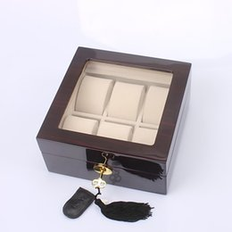 $enCountryForm.capitalKeyWord Canada - Wholesale 1 PCS High Quality Luxury 6-Watch Exhibitions Collection Wood Box Charpie Glass Top Waterproof GENTS Men Watches Ladies Watch case