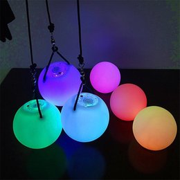 Discount flashing lights - Multicolor LED Light POI Thrown Balls Diameter 8cm for Stage Perform Club Belly Dance Party Special Hand Props LED Flash