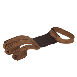 $enCountryForm.capitalKeyWord UK - Brown Cow Leather Finger Guard Pull Fingertip Protector for Bow Archery Hunting and Shooting Durable 3 Finger Guard Shooting Gloves