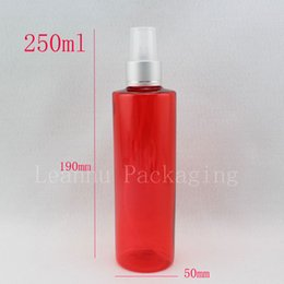 Chinese  250ml x 20 red colored empty makeup setting spray pump plastic bottles , 250cc fine mist sprayer pump refillable containers manufacturers
