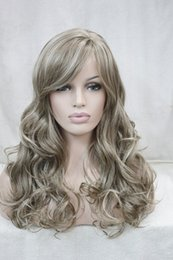 curly bang wig NZ - Hivision 2017 New charming blonde mix side skin top synthetic bangs women's curly long wig free shipping