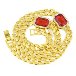 """Ice Out Chains Canada - Hip Hop Men's Necklace Bling Iced out 30"""" 2 Ruby Crystal Long Miami Cuban Link Chain Necklace Fashion Punk Jewelry"""