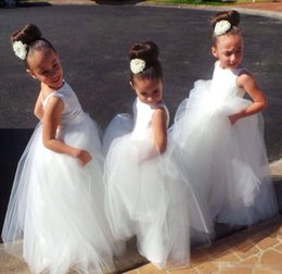 Barato Meninas Pequenas Vestidos Brancos-Long Kids Formal With Lace Flower Girls 'Dresses 2016 Cute Little White Girls Girls Dress Up Vestido de dama de honra para festa Casamento