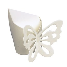 Caisses Favorables Aux Couleurs D'ivoire En Gros Pas Cher-Vente en gros - Haute qualité 50 pièces / Set Candy Box Ivoire Color Wedding Party Baby Butterfly Favor Gift Candy Boxes