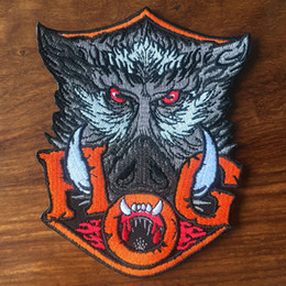 """Discount motorcycle club jackets - TOP QUALITY HOG WILD BOAR HEAD MOTORCYCLE BIKE PATCH IRON ON JACKET RIDER VEST APPLIQUE EMBROIDERED CLUB PATCH 4.5"""""""