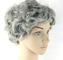 $enCountryForm.capitalKeyWord Canada - Costume Vintage Grandma Short Curly Light Gray Synthetic african american afro american hair no lace front Wig peruca Cosplay Wigs