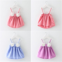Robe Solide Pour Applique Pas Cher-Sun Flower Dresses Baby Girls Suspenders Robe 100% coton jupe courte Kids Solid Color Tops Tees 2017 Summer Children Clothing Free DHL 72