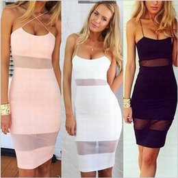 Barato Mini-saia Cor-de-rosa Barata-Newsexy Girl Feminino Pink HollowPanelled Skirt Backless Cross Vestidos de verão Party Bodycon HOT Sale Backless Party formal Preço barato