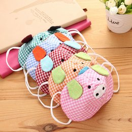 Masque Enfants De La Bouche Pas Cher-Cute Cartoon Pig Plaid Kid Mouth-muffle Lovely Masks Masque de visage en coton Masque chaud Anti-poussière Girl Girl Gauze Mask Christmas Gift ZA1491