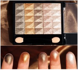 baked eyeshadow makeup UK - Pro Cosmetic Makeup Palette Diamond Shining Waterproof Baking Powder Eyeshadow Palette Nude Makeup Eye shadow Earth Tone Golden Colors