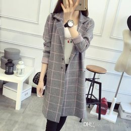 Wholesale 2016 Autumn Winter Women Jacket New Plaid Overcoat Long Sleeve Trench Coats One Size Four Colors Brand Overcoat
