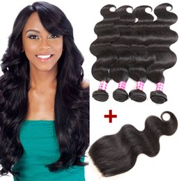$enCountryForm.capitalKeyWord Canada - New Arrival Body Wave Wavy 4 Bundles with Closure Peruvian Virgin Unprocessed Hair Extensions Brazilian Human Hair Weave Bundles Ponytail