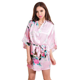 Women Kimono Bath Robe Canada - Wholesale- Pink Chinese Women Silk Rayon  Mini Robe Sexy 2d9363e4b