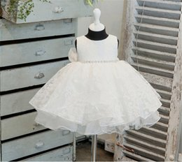 Barato Crianças Atacado Princesa Trajes-Wholesale- Girl Dress 0-2Years Baby Girl Clothes Summer Lace Flower Tutu Princess Kids Vestidos para meninas Vestuário Vestuário de casamento para crianças