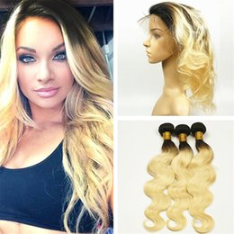 Ombre Lace Frontal Canada - Dark Roots Blonde 360 Lace Frontal Closure With 3 Bundles Two Tone 1B 613 Ombre Body Wave Virgin Hair Weaves With 360 Frontal