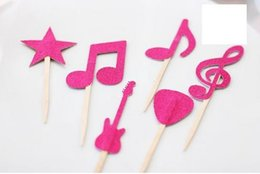 $enCountryForm.capitalKeyWord Australia - Custom 30pcs cheap Rock and Roll Star Musical Note Cupcake Toppers - Toothpicks - Food Picks wedding baby shower birthday party favors