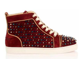 $enCountryForm.capitalKeyWord Australia - drop shipping new Cheap red bottom sneakers for men high top With Gold Spike Hollow Out Flat mens shoes Shoes man leisure trainer footwear