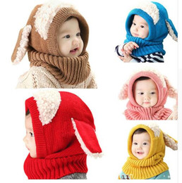 Barato Malha Earflap Beanie-Hat Baby Rabbit Orelhas Knitted Infant Inverno Warm Hats Beanies Cap com cachecol com capuz Earflap Newborn Kids Christmas Gifts DHL Frete grátis