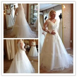 plus size transparent shirt Canada - Plus Size Wedding Dresses Tulle New Style Long Sleeve Low Back Appliques Custom Made Bridal Gowns Romantic Women Transparent Elegant