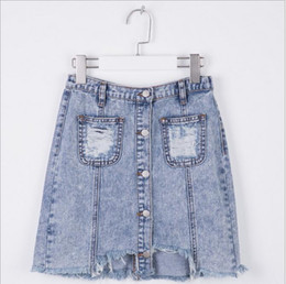 Barato Vestidos De Bebês Adolescentes-Teenager Denim Skirts Big Baby Girls Fashion Tassel Dress Junior Pocket casual saias 2017 Bebês Outono Vestuário